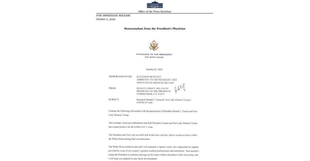 Официальная записка от врача президента Шона Конли
